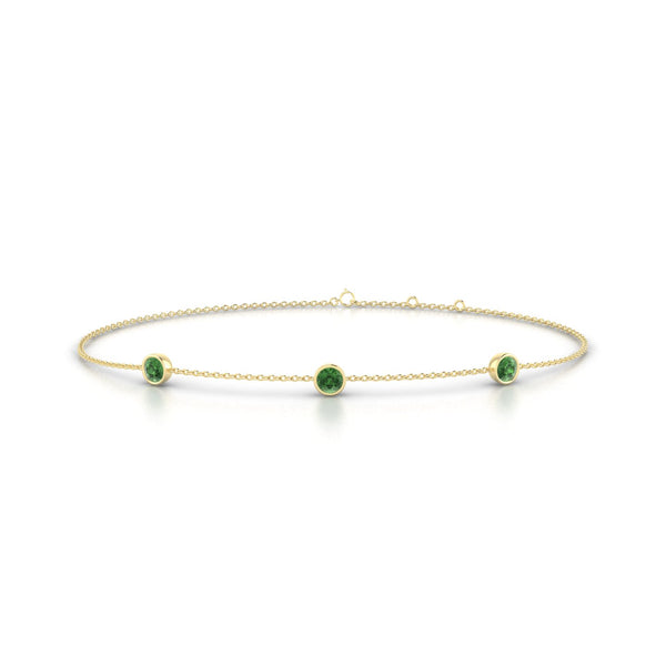Joie Tourmaline verte | Ronde 3 mm Or Jaune 18k