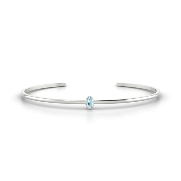 Louna Aigue-marine | Ovale 5 x 3 mm Or Blanc 18k