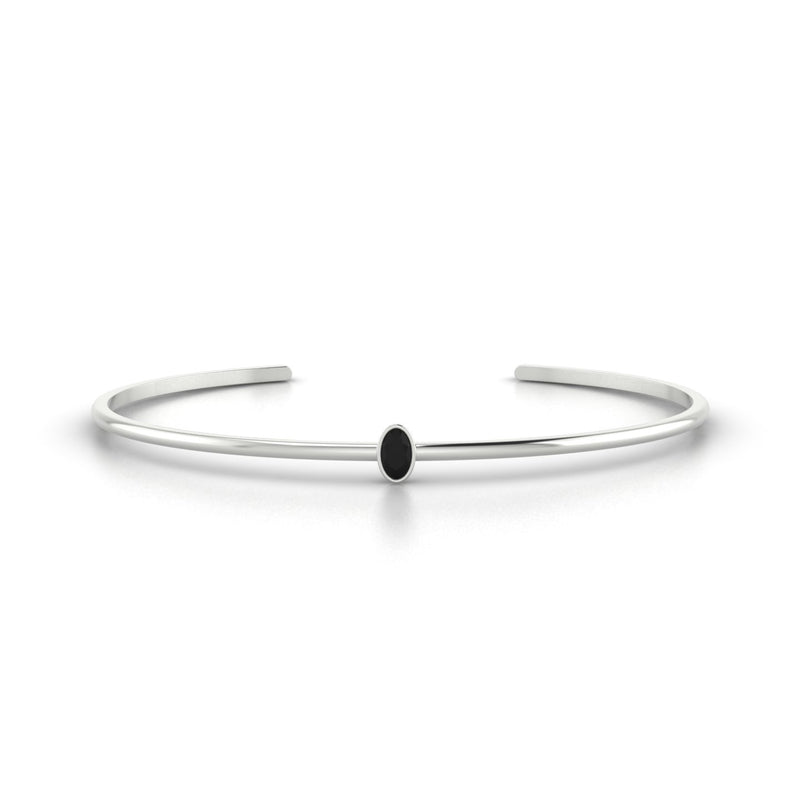 Louna Diamant noir | Ovale 5 x 3 mm Or Blanc 18k