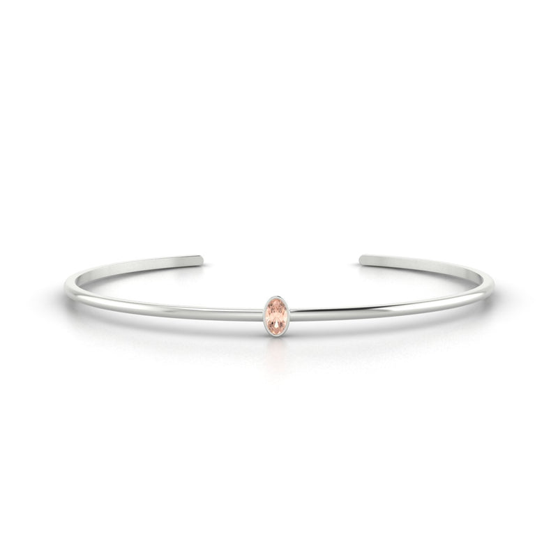 Louna Morganite | Ovale 5 x 3 mm Or Blanc 18k