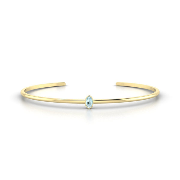 Louna Aigue-marine | Ovale 5 x 3 mm Or Jaune 18k