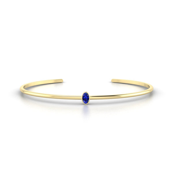 Louna Saphir | Ovale 5 x 3 mm Or Jaune 18k