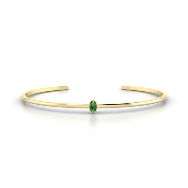 Louna Tourmaline verte | Ovale 5 x 3 mm Or Jaune 18k