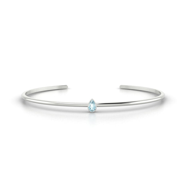 Louna Aigue-marine | Poire 5 x 3 mm Or Blanc 18k