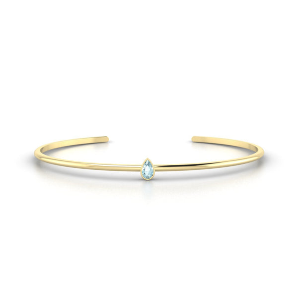 Louna Aigue-marine | Poire 5 x 3 mm Or Jaune 18k