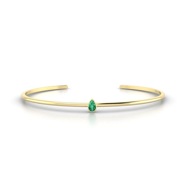 Louna Emeraude | Poire 5 x 3 mm Or Jaune 18k