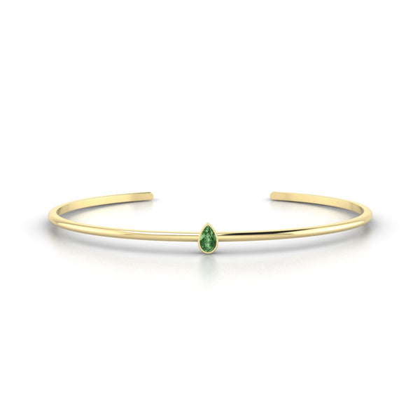 Louna Tourmaline verte | Poire 5 x 3 mm Or Jaune 18k