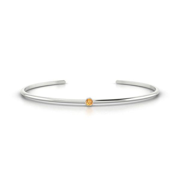Louna Citrine | 3 mm Or Blanc 18k Ronde
