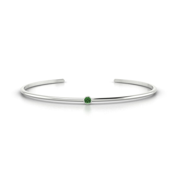 Louna Tourmaline verte | Ronde 3 mm Or Blanc 18k