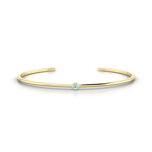 Louna Aigue-marine | 3 mm Or Jaune 18k Ronde