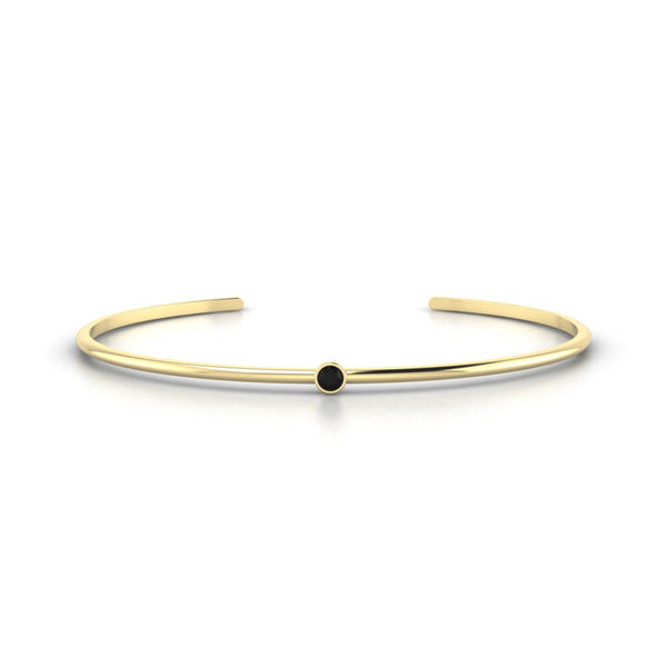Louna Diamant noir | 3 mm Or Jaune 18k Ronde