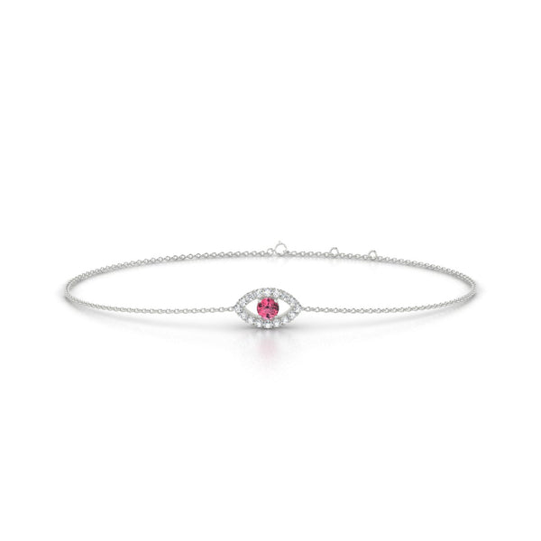 Persia Tourmaline rose | Ronde 3 mm Or Blanc 18k