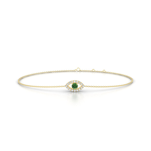 Persia Tourmaline verte | Ronde 3 mm Or Jaune 18k