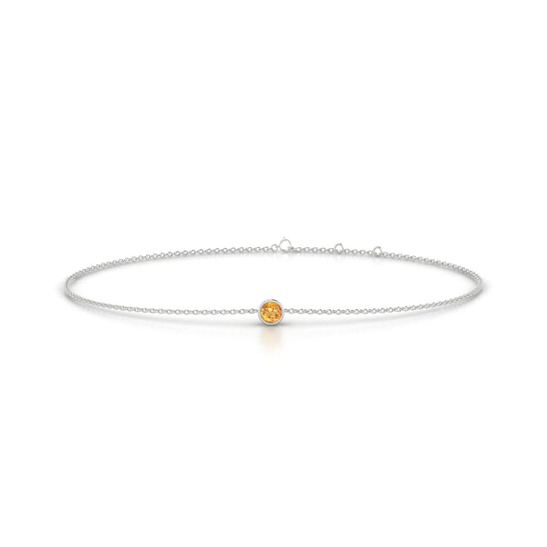 Songe Citrine | Ronde 3 mm Or Blanc 18k