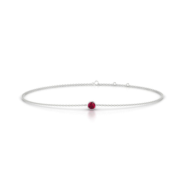 Songe Rubis | Ronde 3 mm Or Blanc 18k