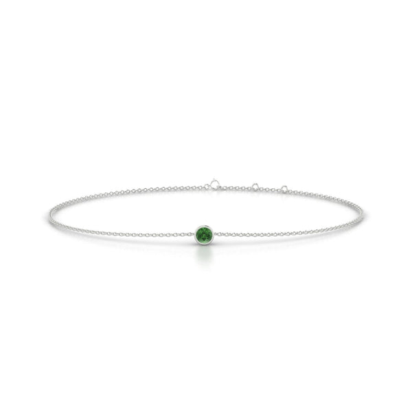 Songe Tourmaline verte | Ronde 3 mm Or Blanc 18k