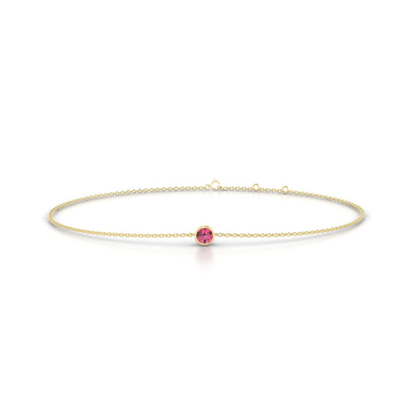 Songe Tourmaline rose | Ronde 3 mm Or Jaune 18k