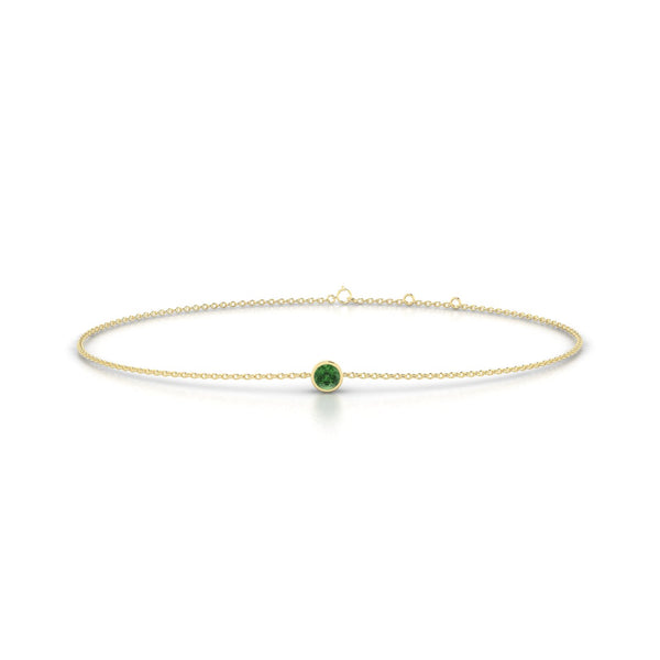 Songe Tourmaline verte | Ronde 3 mm Or Jaune 18k