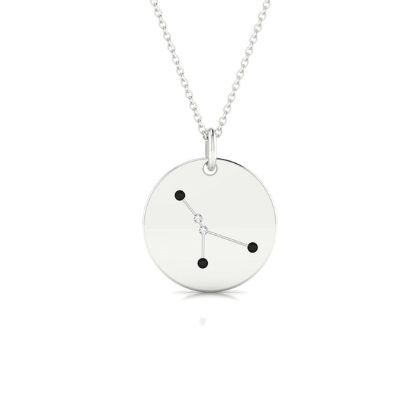 Cancer Diamant noir | Ronde 1.3 mm Or Blanc 18k