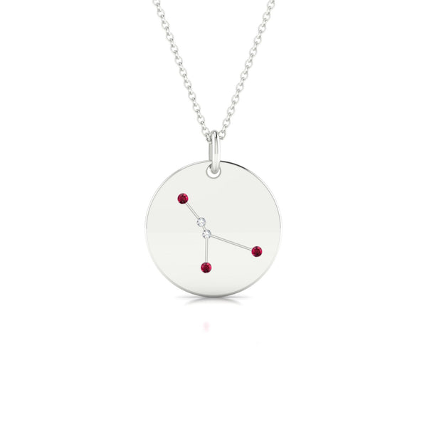 Cancer Rubis | Ronde 1.3 mm Or Blanc 18k
