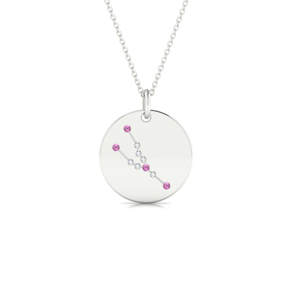 Taurus Saphir rose | Ronde 1.3 mm Or Blanc 18k
