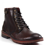 Alternating materials make the Testosterone Shoes BALL OF FIRE unique. This boot offers a lace up vamp with alternating leather and suede along the vamp and heel. A side zipper and adjustable snap around the upper create a cool, urban look.