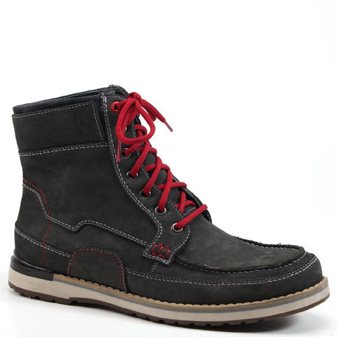 Street shoe meets work boot is introduced by Testosterone. This shoe offers a lace up vamp, alternating materials around the upper, and stitch work details along the toe. To give this shoe a little pop of color we added a stripe around the bottom outsole.