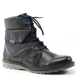 Testosterone's ACE RACE boot allows you to create not one, but two distinct looks this fall. The leather boot has a 1.25 inch heel, lace-up vamp, padded tongue, contrast stitching, and welt construction. Wear the collar up for a classically cool look, or fold it over to expose the fabric lining for a modern vibe.