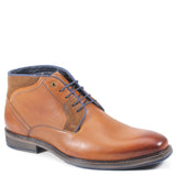 "Whether you're the type of man who devises a tactical plan for his outfits, or more of a ""wing-it"" type of guy, shoes can make or break a look. Enlist Testosterone's AIR WING chukka boots for effortless cool. Their sleek plain-toe finish, smooth leather upper, elegant suede collar, and classy silhouette provide a solid foundation for day or evening ensembles."