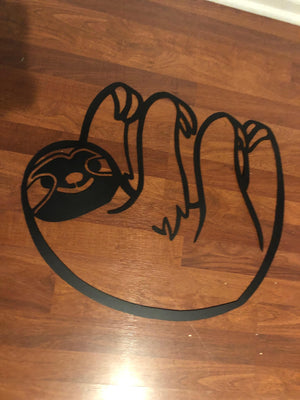 FREE SHIPPING -  24 in wide CNC steel sloth hanging wall art