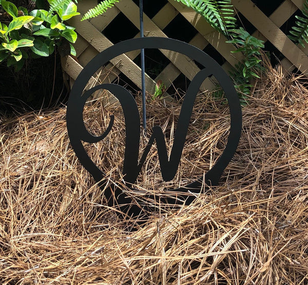 Free Ship!  14 inch wide monogram yard garden marker.