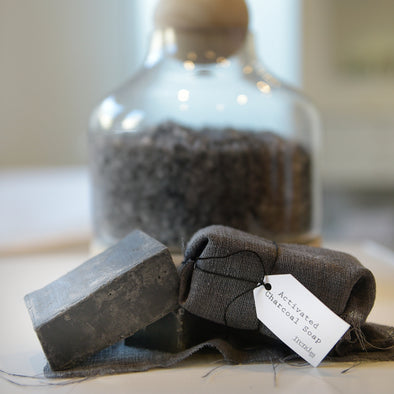 Organic activated charcoal soap bar