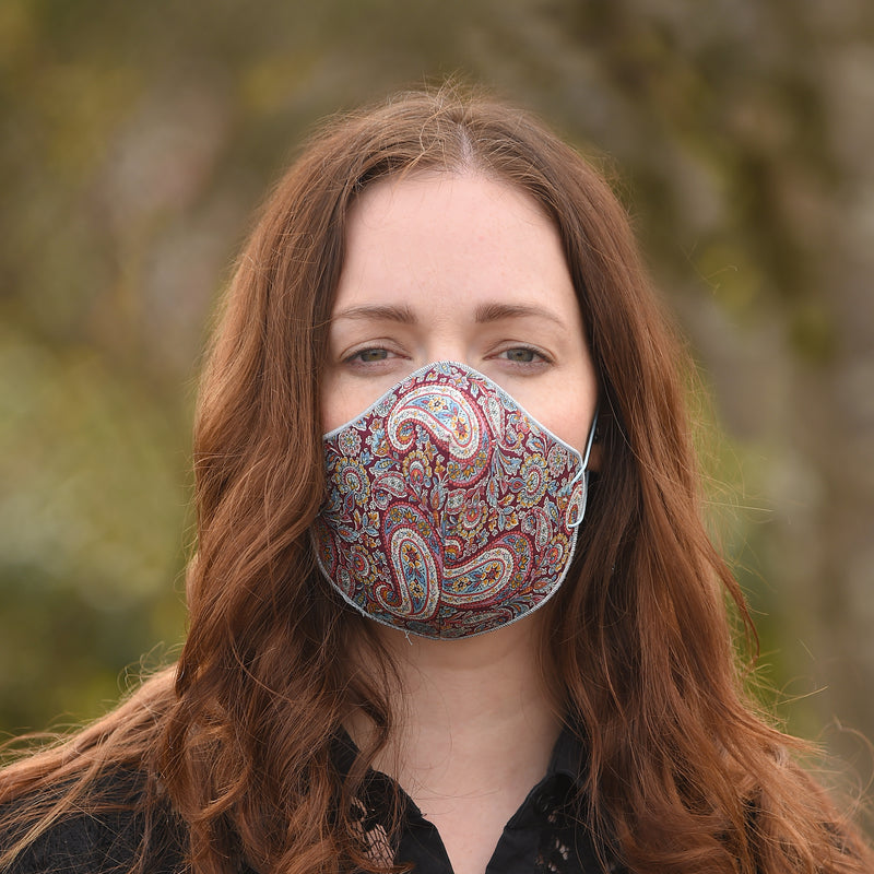 Liberty (Burgundy Paisley) Face Covering