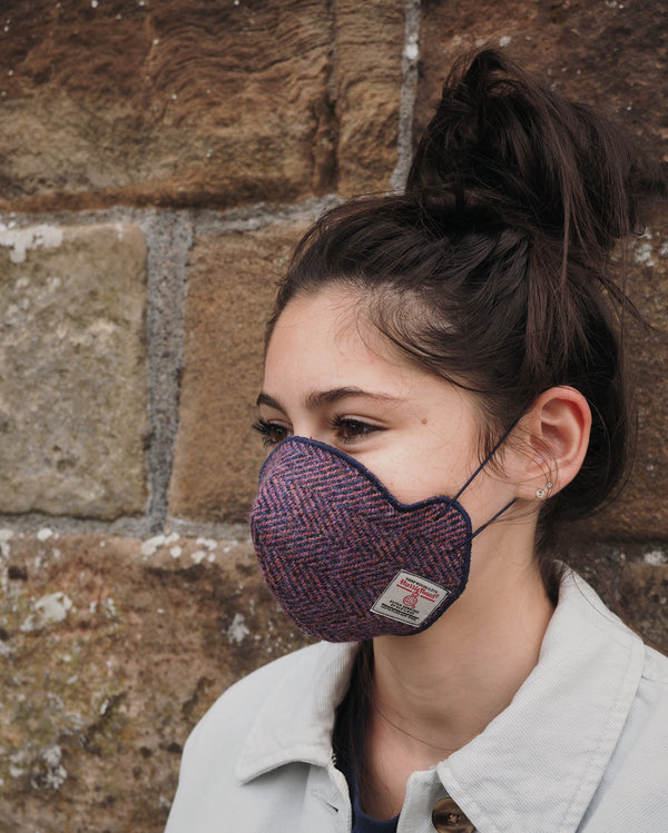 Harris Tweed® Face Covering (Pink and Navy Herringbone)