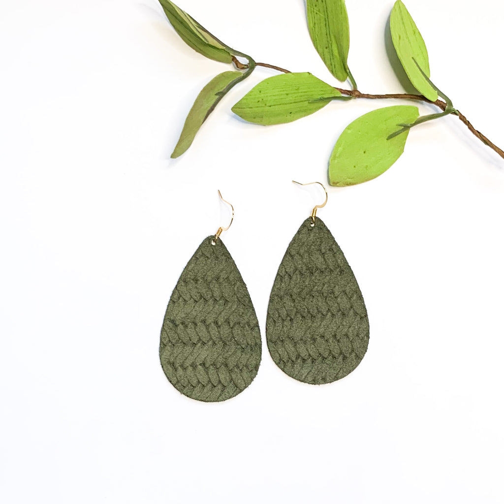 Leather-Army Weave Teardrop - GraceUnfaded