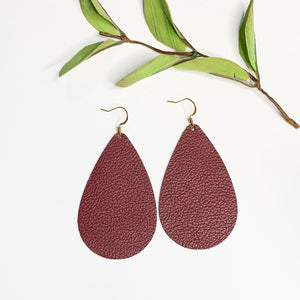 Leather- Cranberry Teardrop - GraceUnfaded
