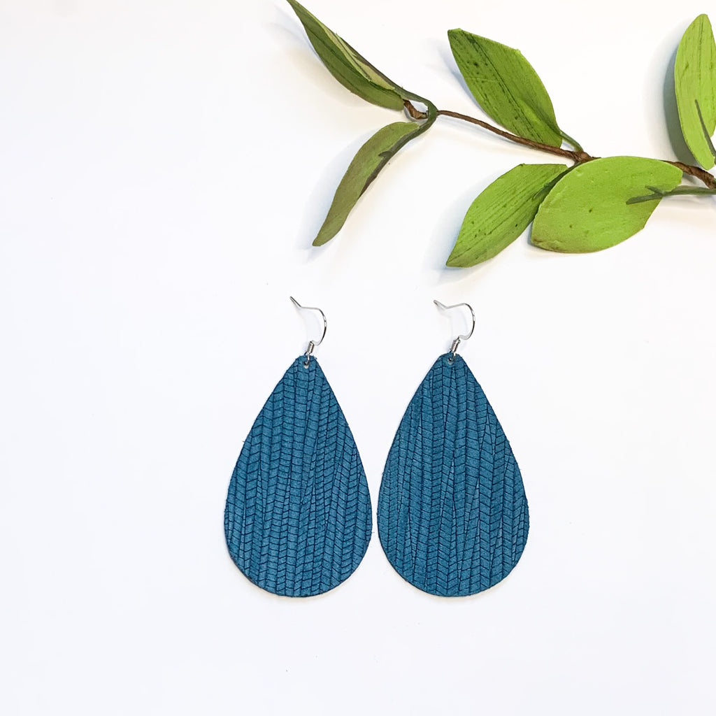 Leather - Blue Bamboo Teardrop - GraceUnfaded