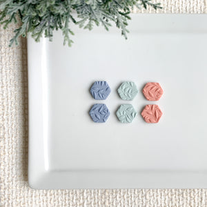 Flower Hexagon Clay Studs - GraceUnfaded