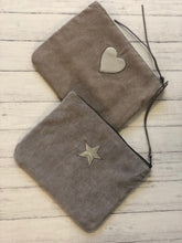 Load image into Gallery viewer, Grey Corduroy Heart Make-Up Bag