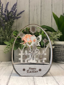Distressed White Happy Easter Cut Out Egg
