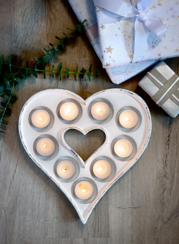 White Heart Shaped Tealight Holder
