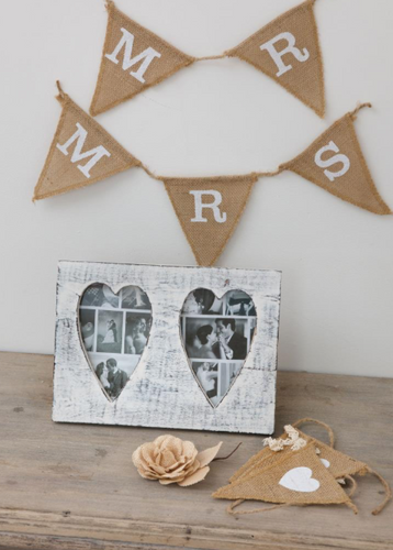 Vintage Double Heart Picture Frame in White