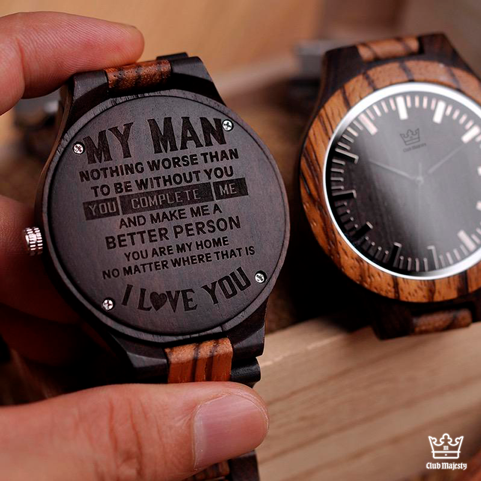 Ebony - Engraved Wooden Watch