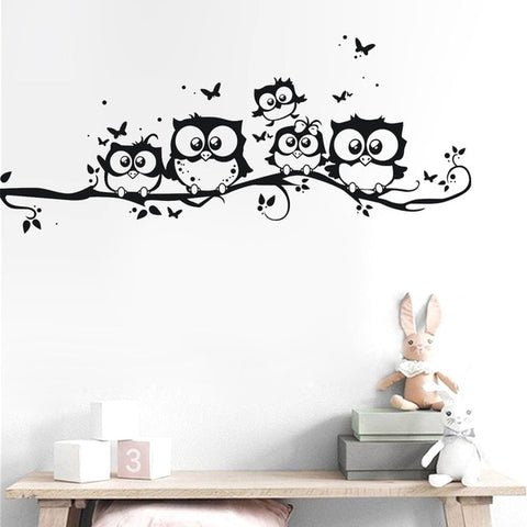 Owls On Tree Wall Sticker