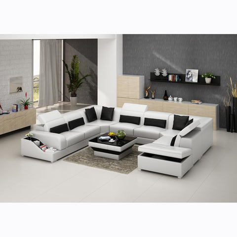 U shape leather sofa