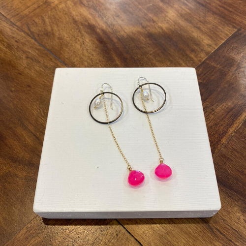 MarpesiaAndCo - Pink Chalcedony Earrings
