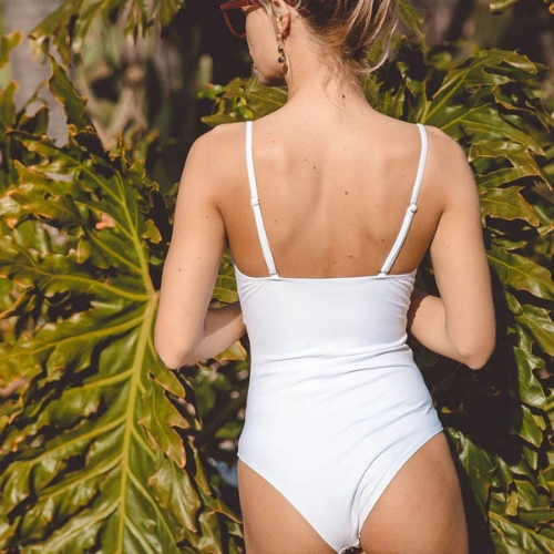 Valentina Front-Tie One-Piece - White