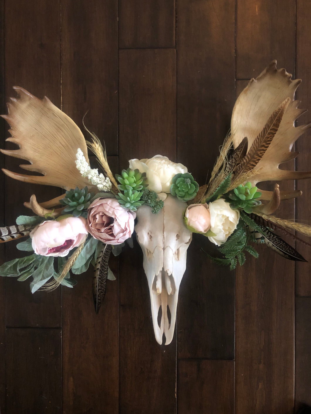 Life size ***sold***Moose skull/Antler with Floraand Feather foliage