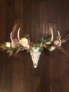 Life size Deer skull/Antler with Flora and Feather foliage
