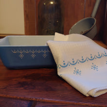 Load image into Gallery viewer, Snowflake Blue Garland Pyrex Pattern Waffle Weave Dishtowel